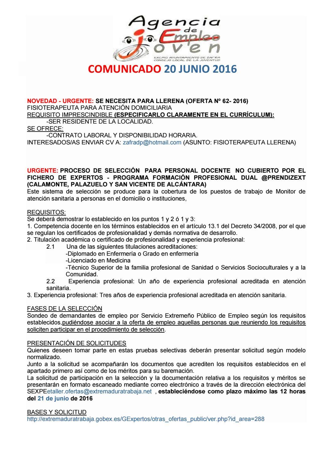 EMPLEO. COMUNICADO 20 DE JUNIO. by Segura Al Día - issuu