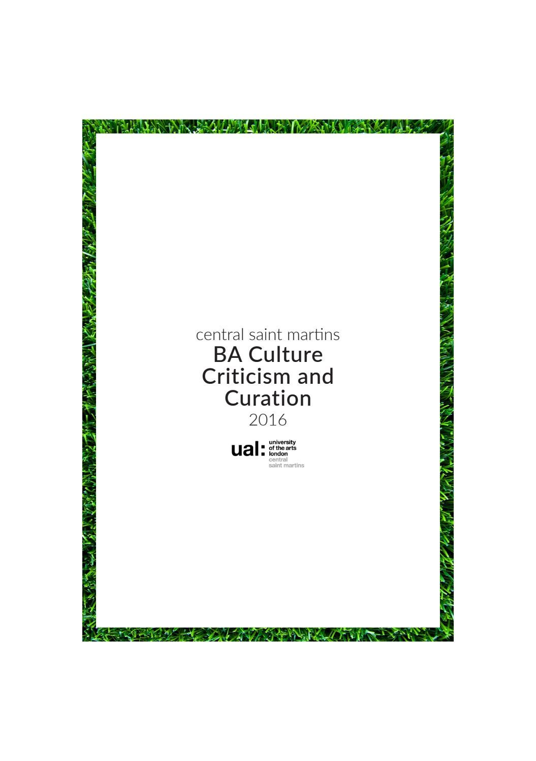 ba hons culture criticism and curation central saint martins 2016 degree show catalogue