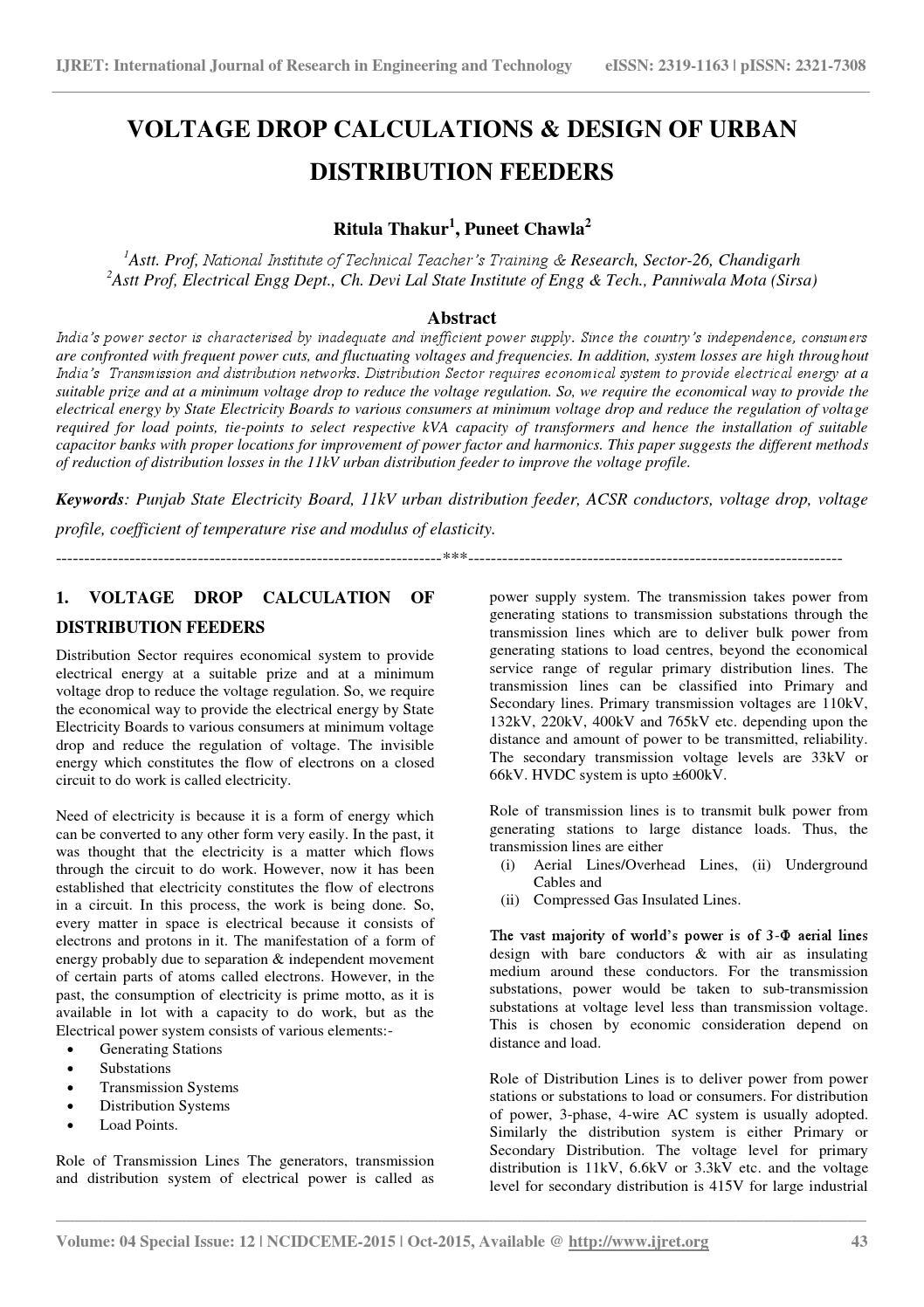 Voltage drop calculations & design of urban distribution
