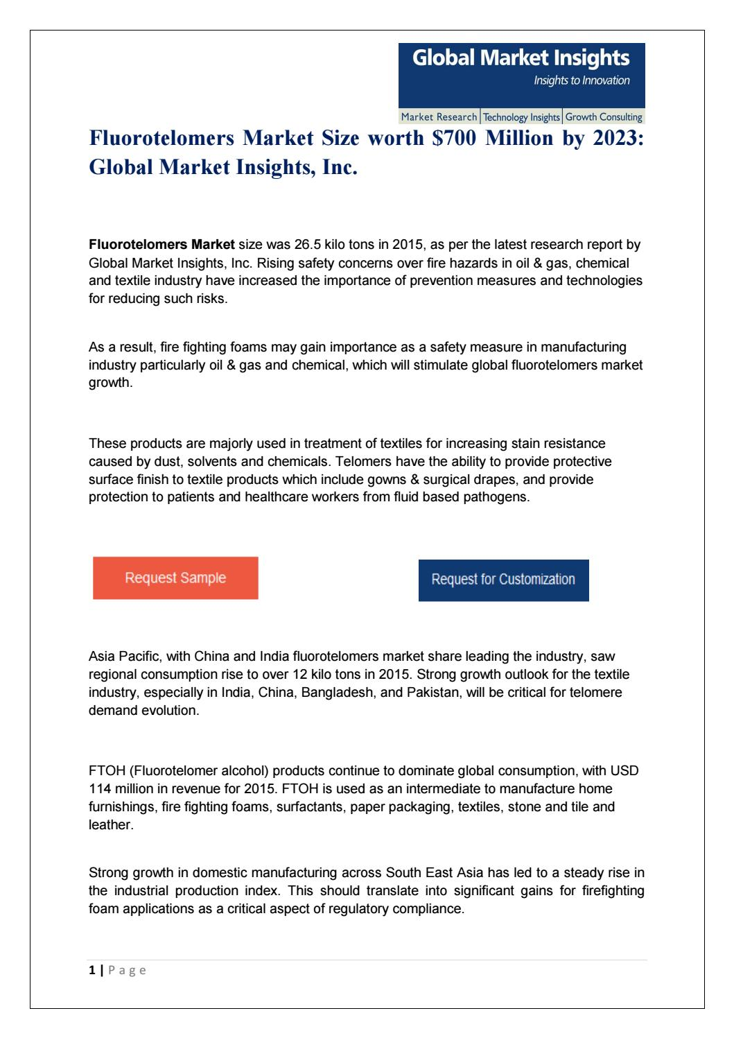 Pdf for Fluorotelomers Market: Global Market Insights, Inc