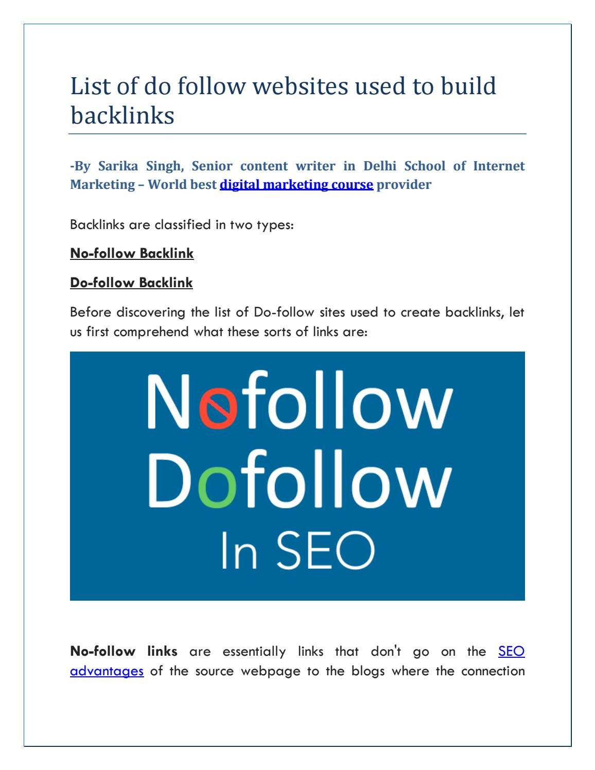 List of do follow websites used to build backlinks by Manju