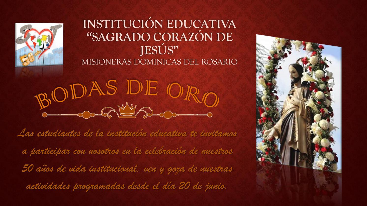 Tarjeta De Invitación Bodas De Oro 5 E I E Sagrado