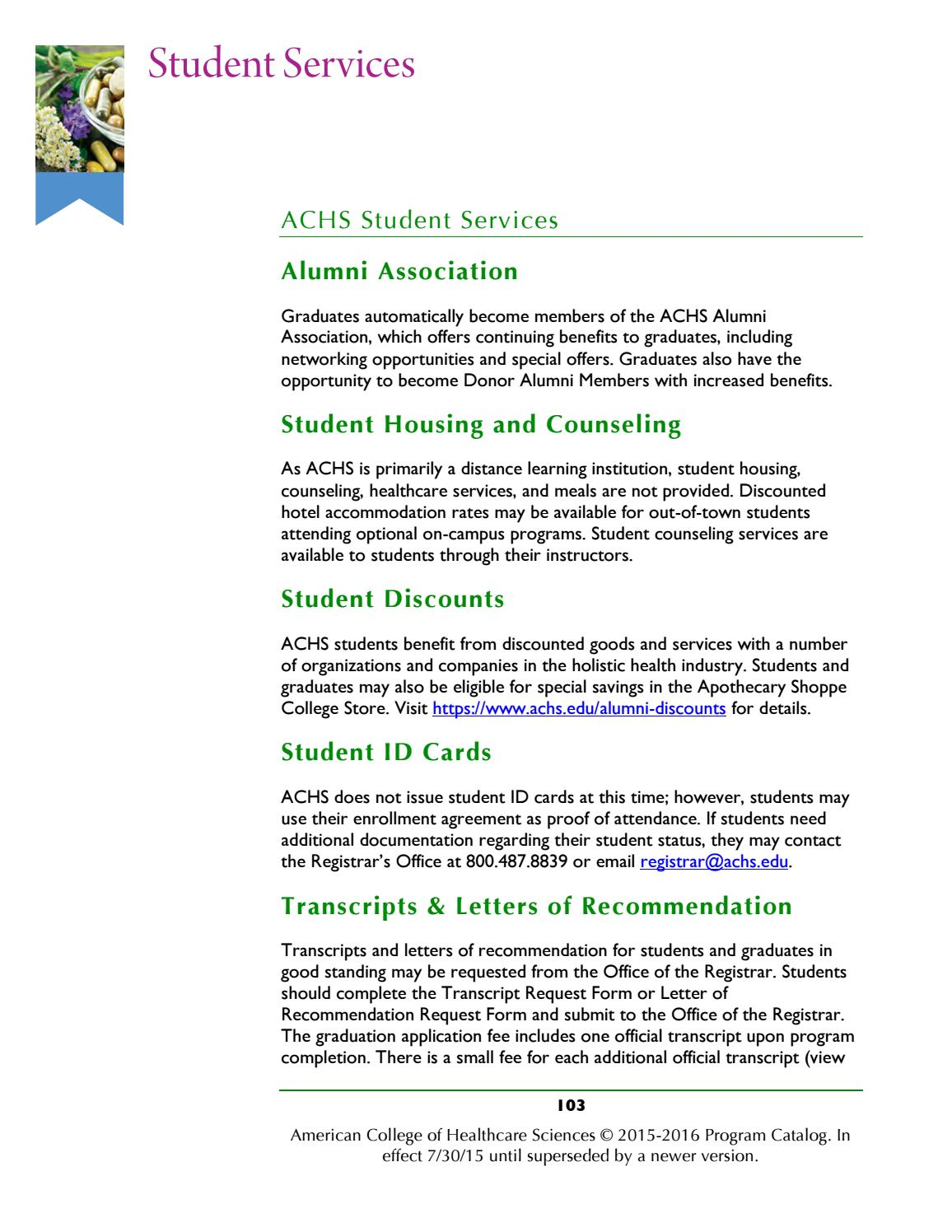 Achs Program Catalog 1516 Academic Year By American College Of