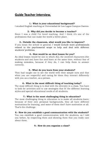 Guide teacher interview by Matias Franckel Avendaño - issuu