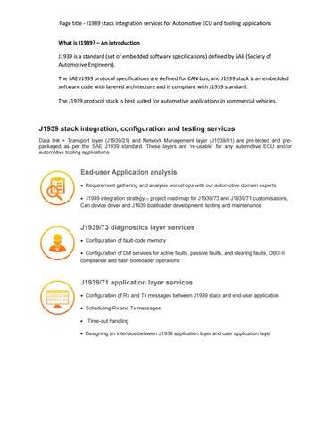 J1939 automotive stack integration services embitel technologies by