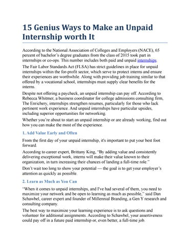 15 Genius Ways To Make An Unpaid Internship Worth It According To The  National Association Of Colleges And Employers (NACE), 65 Percent Of  Bacheloru0027s Degree ...