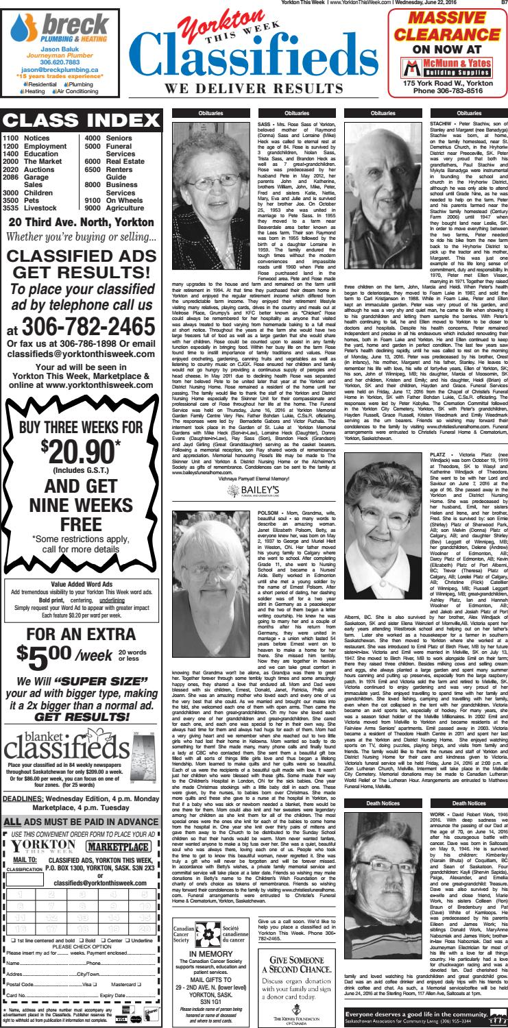 Yorkton This Week Classifieds June 22, 2016 by Yorkton This