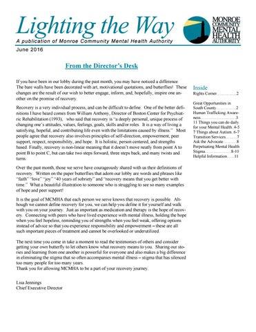 Mcmha Consumer Newsletter June 2016 By Monroe Community Mental