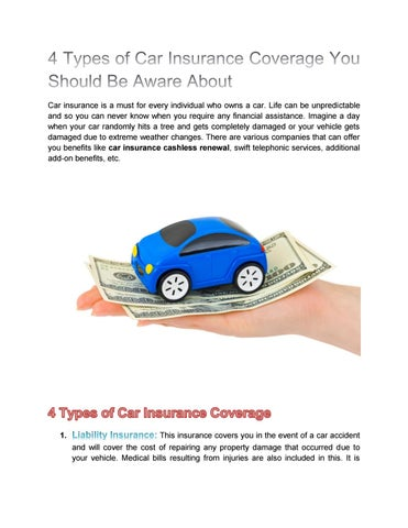 Types Of Car Insurance >> Types Of Car Insurance Coverage You Should Be Aware About By Jessica