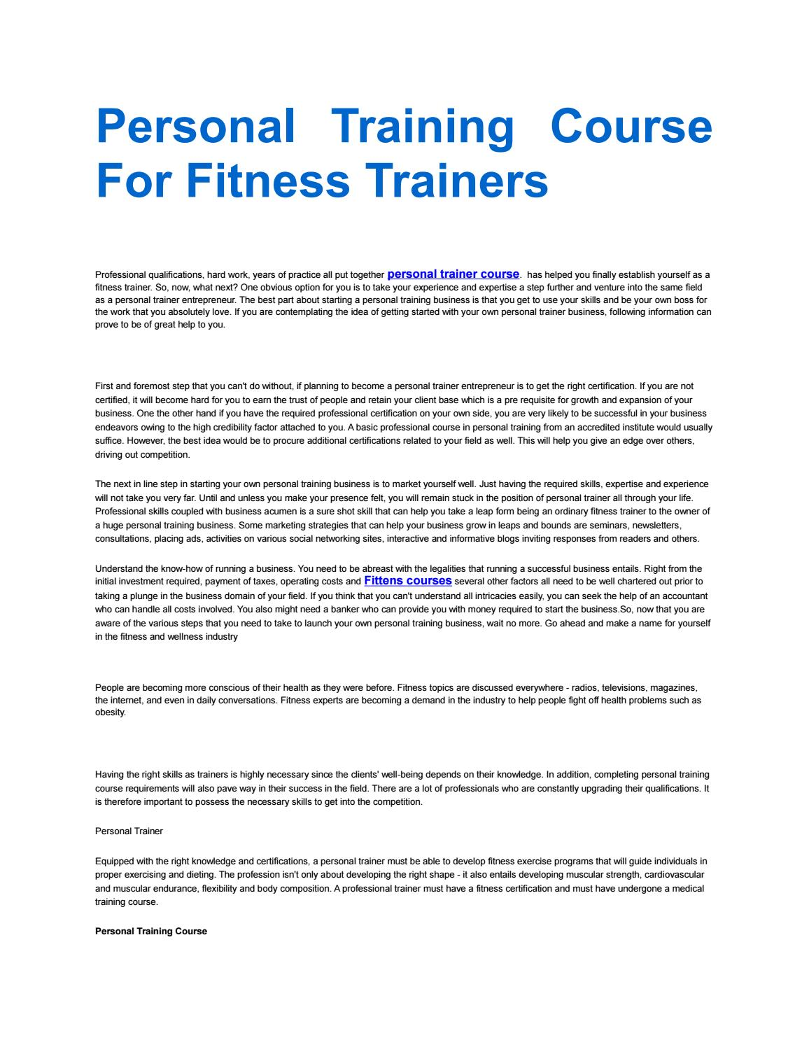 Personal Training Course For Fitness Trainers By Buy Instgaram