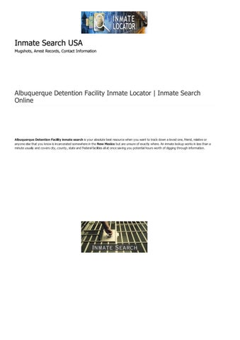 Albuquerque Detention Facility Inmate Search Online New