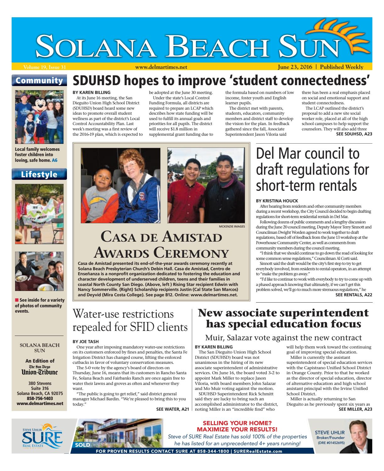 Solana Beach Sun 06 23 16 By Mainstreet Media Issuu