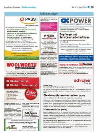 Lohhofer landkreis anzeiger 2516 by zimmermann gmbh for Stellenanzeigen tz munchen