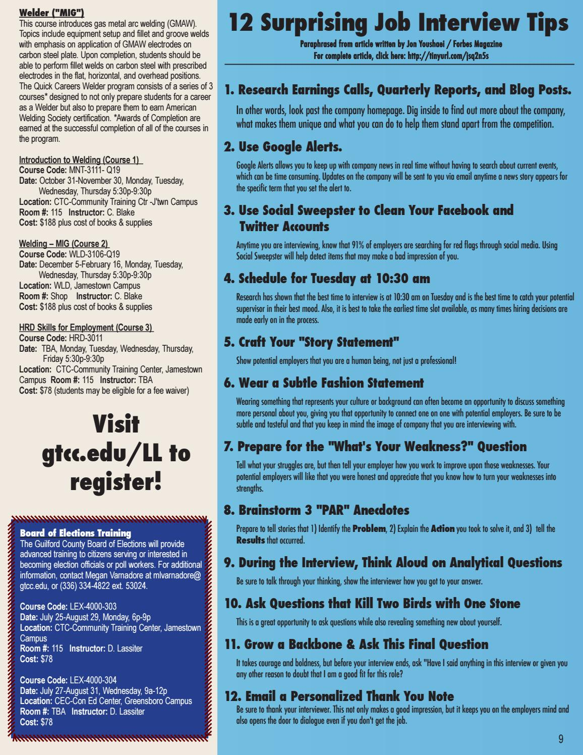 GTCC Fall 2016 Live & Learn Schedule by Guilford Technical Community