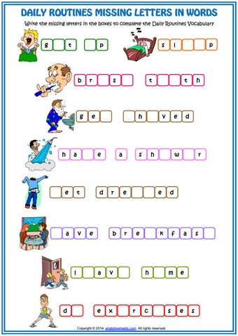 Daily Routines Vocabulary Missing Letters In Words Esl Worksheet By