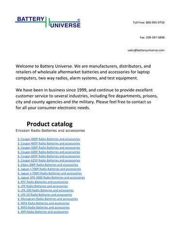 Battery universe product catalog by battery universe inc issuu page 1 freerunsca Gallery