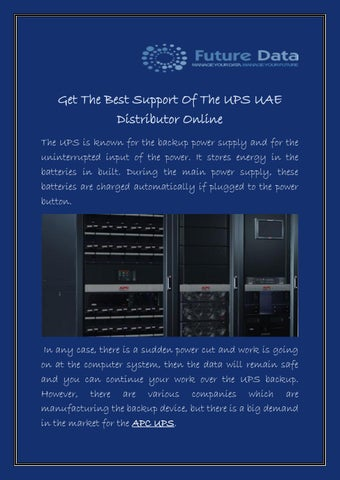 Get The Best Support Of The UPS UAE Distributor Online by