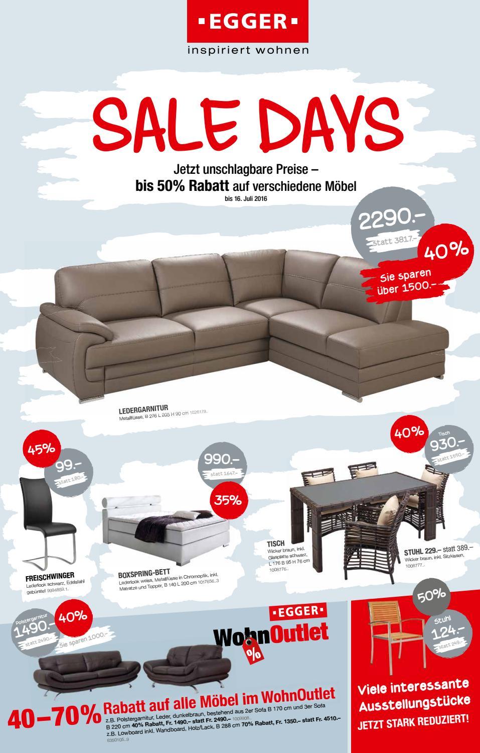 prospekt sale days 2016 by m bel egger issuu. Black Bedroom Furniture Sets. Home Design Ideas