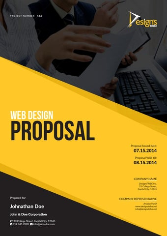 Page 1. PROJECT NUMBER. 144. Web Design. PROPOSAL  Proposal Cover Page Design