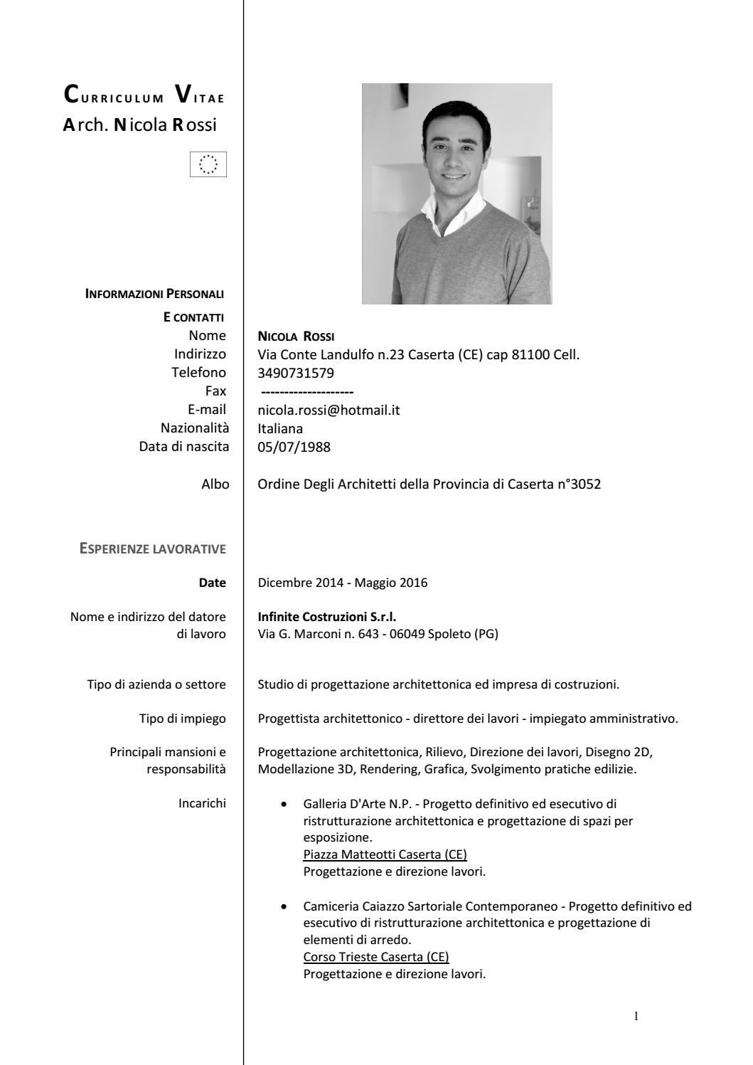 Arch Nicola Rossi Curriculum Vitae By Nicola Rossi Issuu
