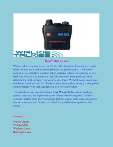 Icom walkie talkies by Walkietalkies - issuu
