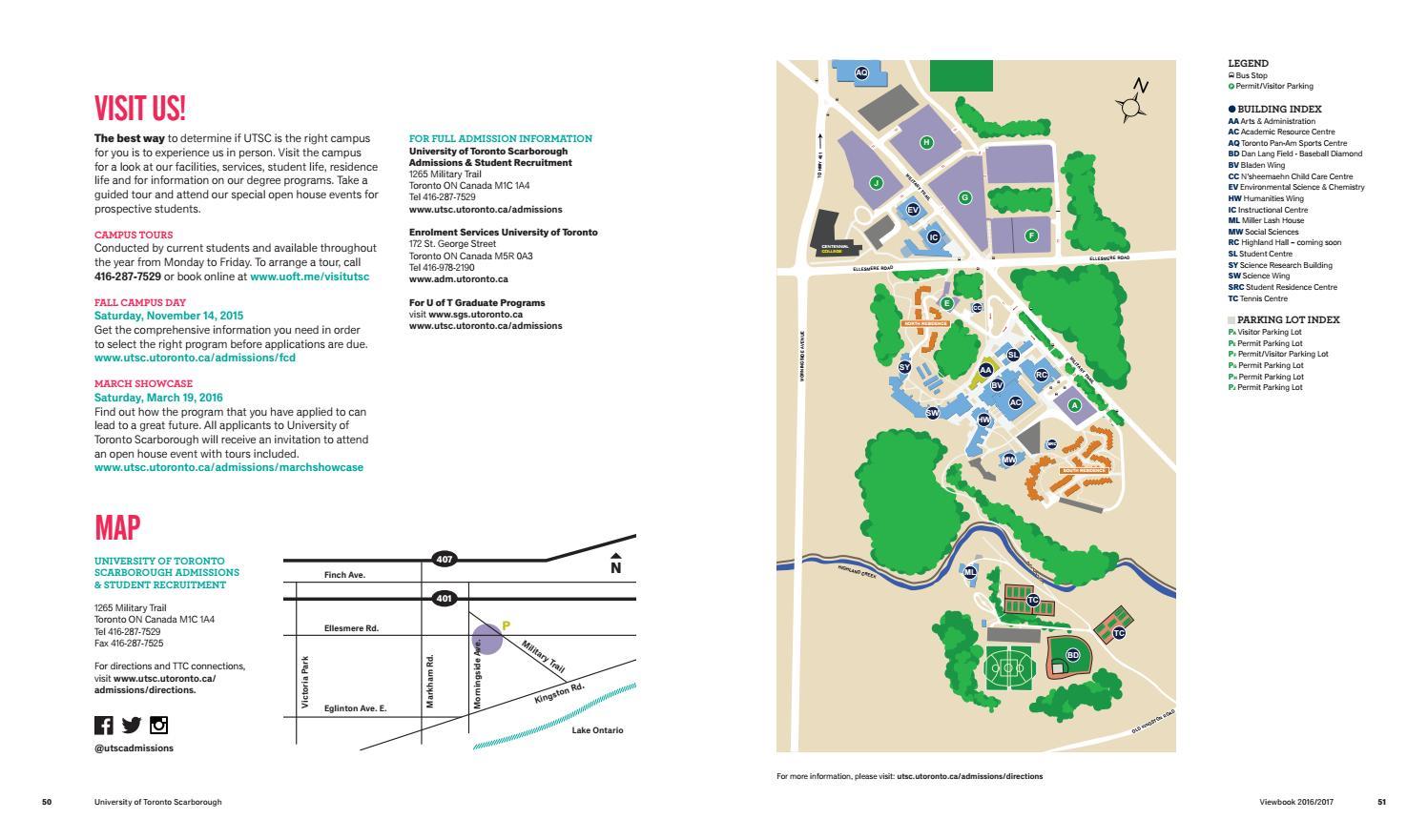 U O F T Campus Map.2016 Utsc Viewbook By Utsc Admissions Student Recruitment Issuu