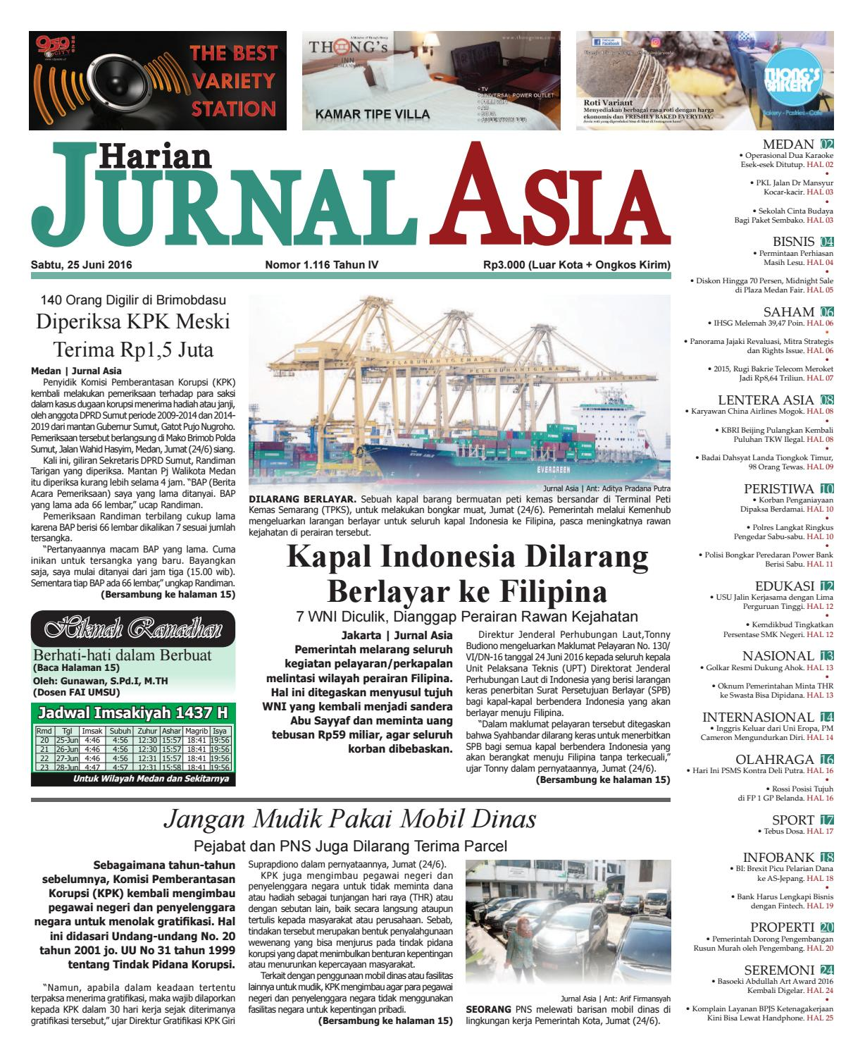 Harian Jurnal Asia Edisi Sabtu 25 Juni 2016 By Parcel Makanan Pja 1606 Medan Issuu