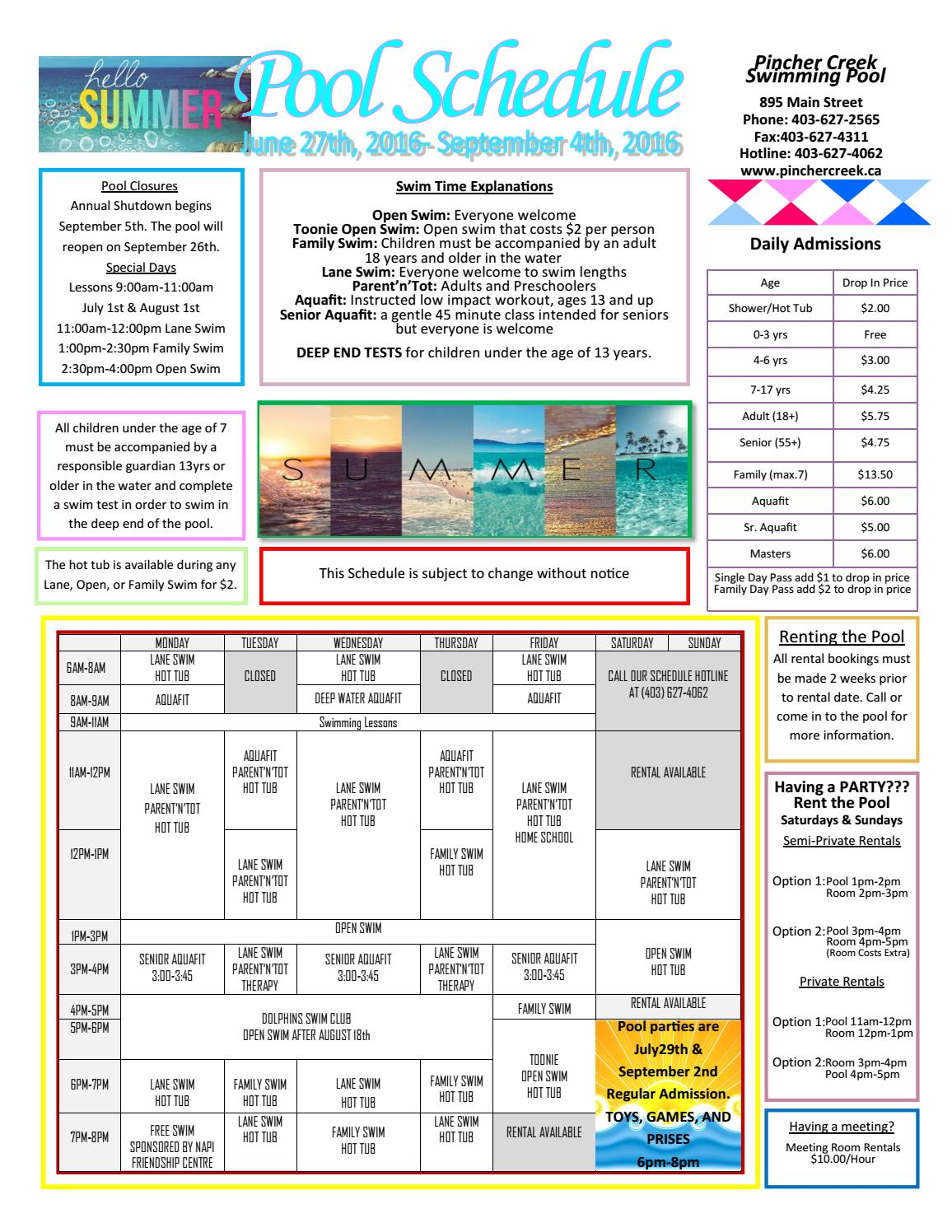 Summer schedule june 27 sept 4th by town of pincher creek issuu for Pincher creek swimming pool schedule
