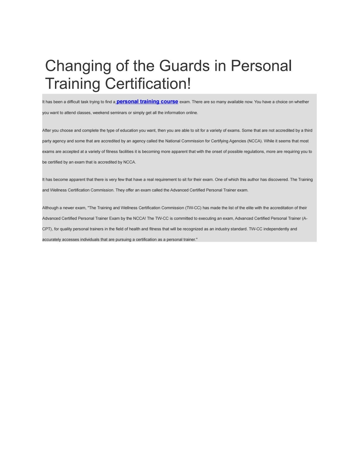 Changing Of The Guards In Personal Training Certification By Buy