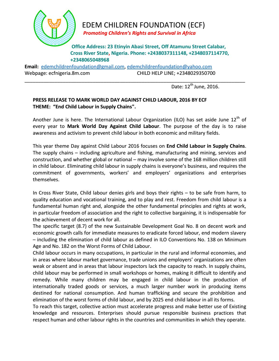 Press statement to mark international day to end child labour 2016 press statement to mark international day to end child labour 2016 in calabar by edem children found by calabar reporters issuu thecheapjerseys Images