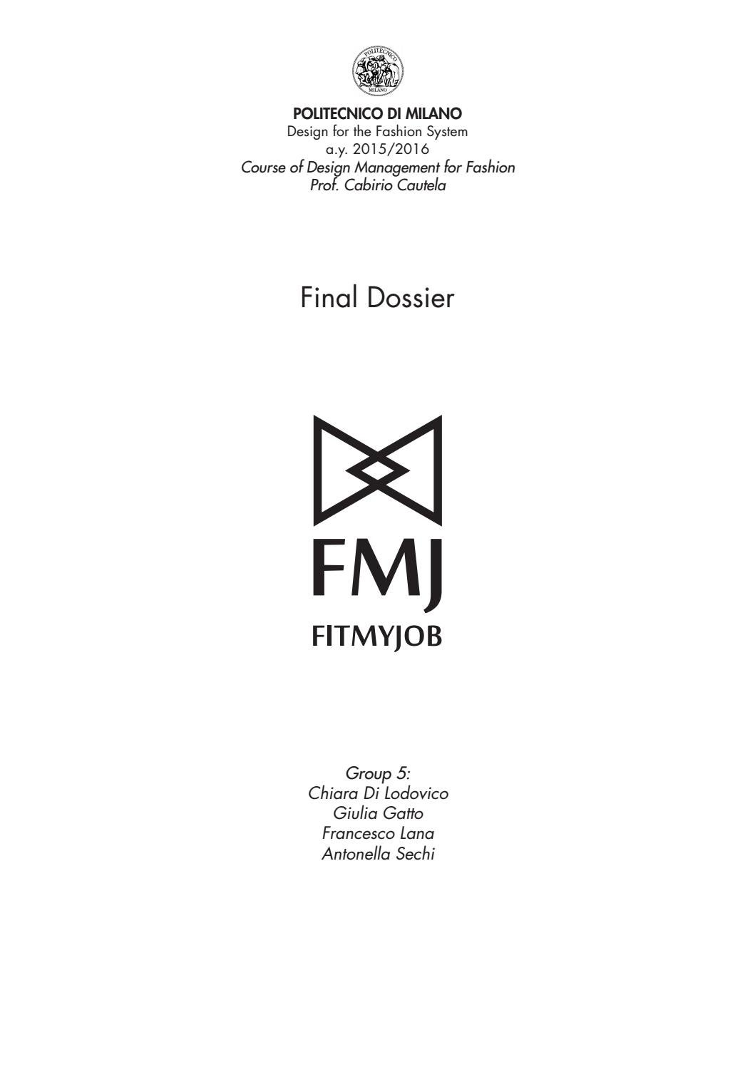 Report Fit My Job Fashion Management Master Degree Course By Antonella S Isuu Issuu