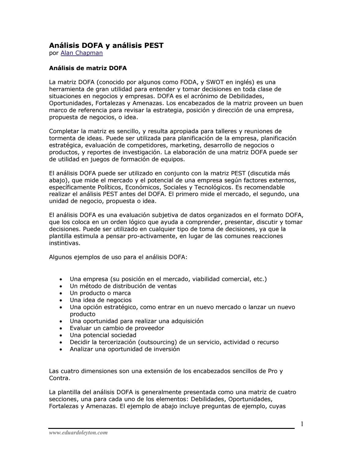 01 analisis dofa y analisis pest by jorge gomez - issuu