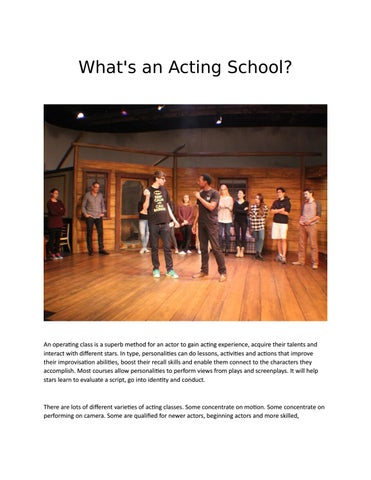 Whats An Acting School By Teen Acting Classes Denver Issuu