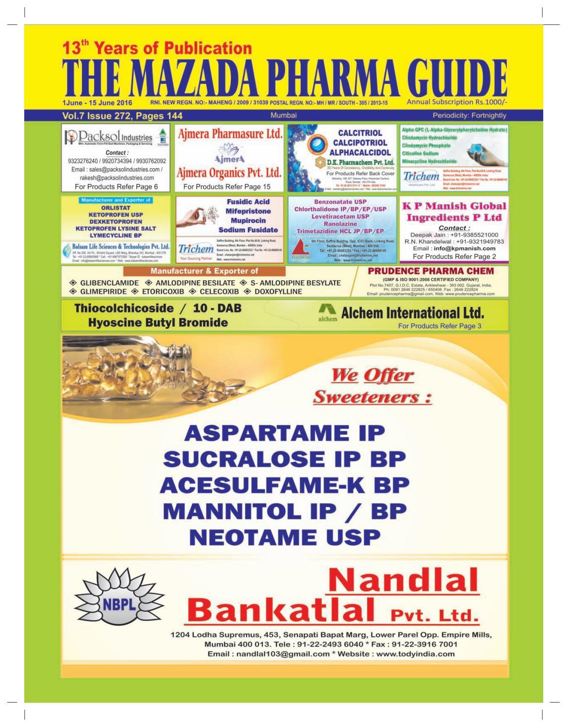 The Mazada Pharma Guide 1st To 15th June 2016 By Tween 20 Polysorbate 1kg Issuu