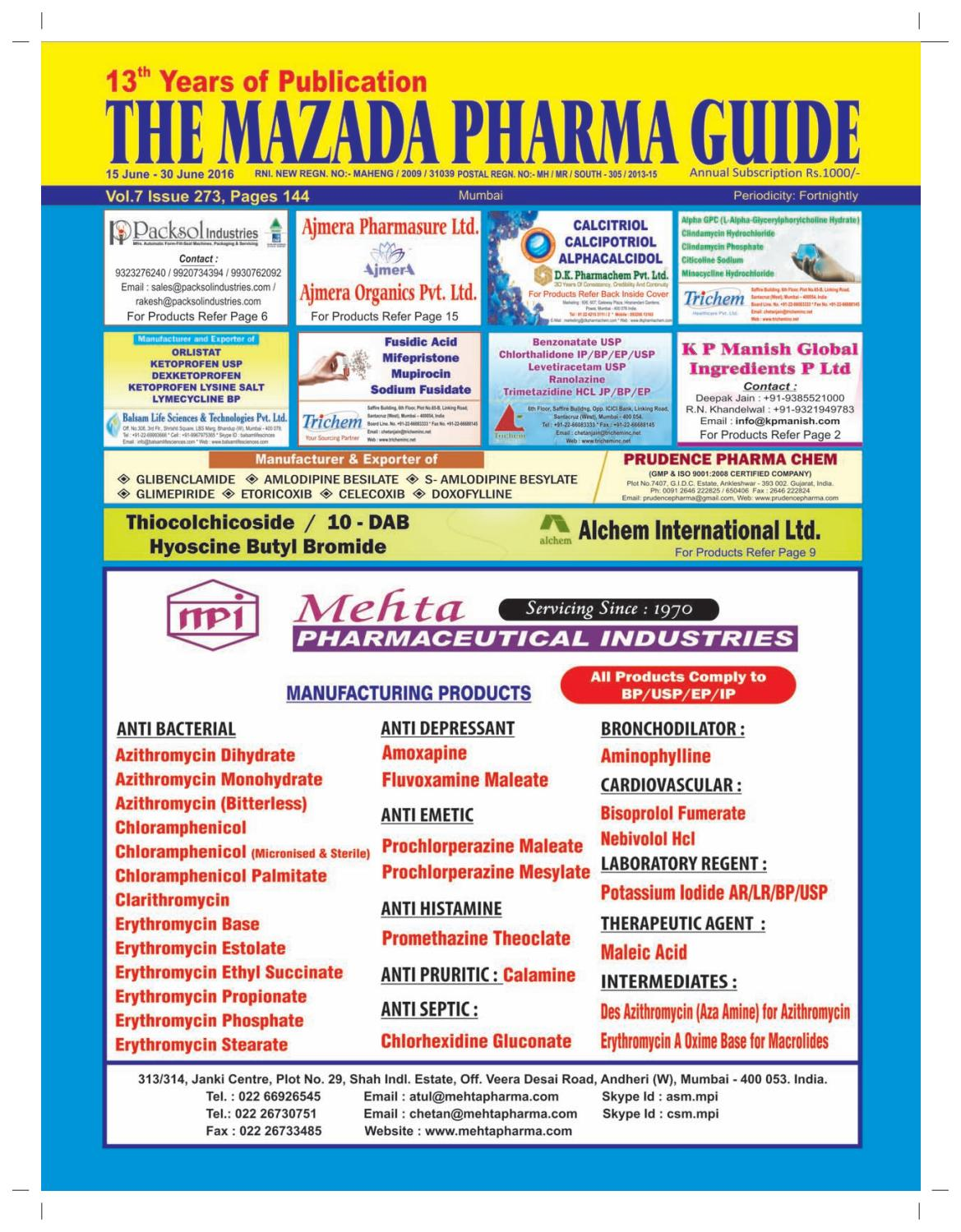 The Mazada Pharma Guide - 16th to 30th June 2016 by The Mazada