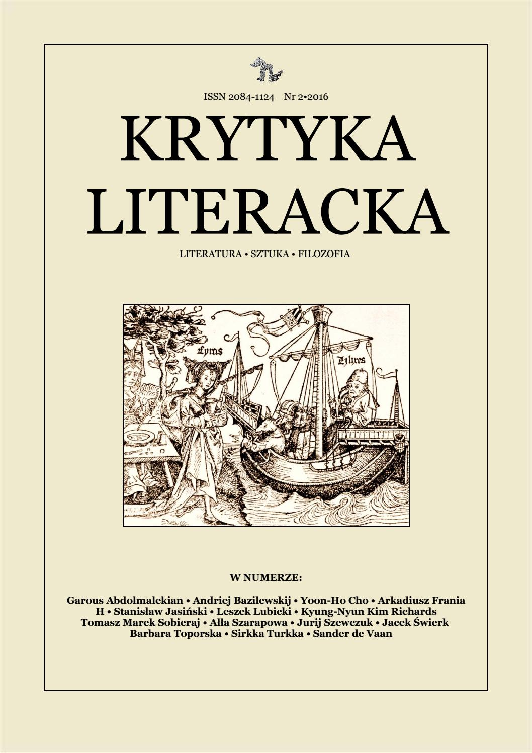 Krytyka Literacka Lato 2016 By Krytyka Literacka Issuu