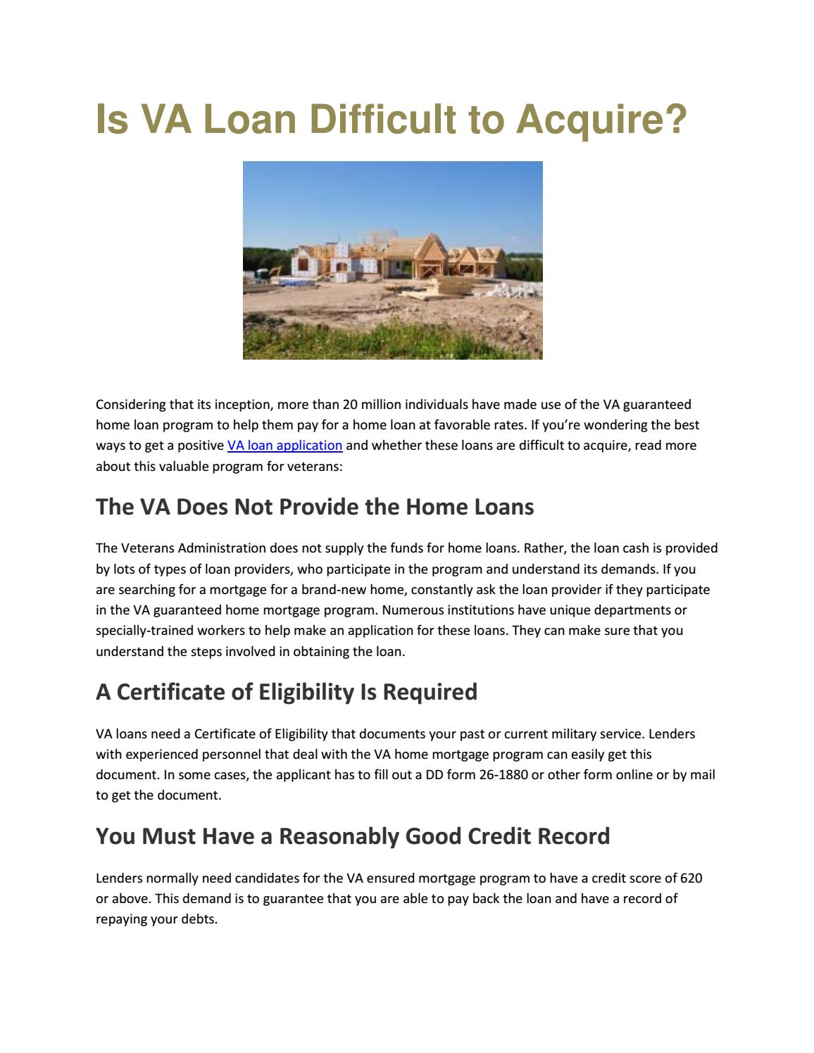 Is va loan difficult to acquire by rrybahoward issuu 1betcityfo Choice Image