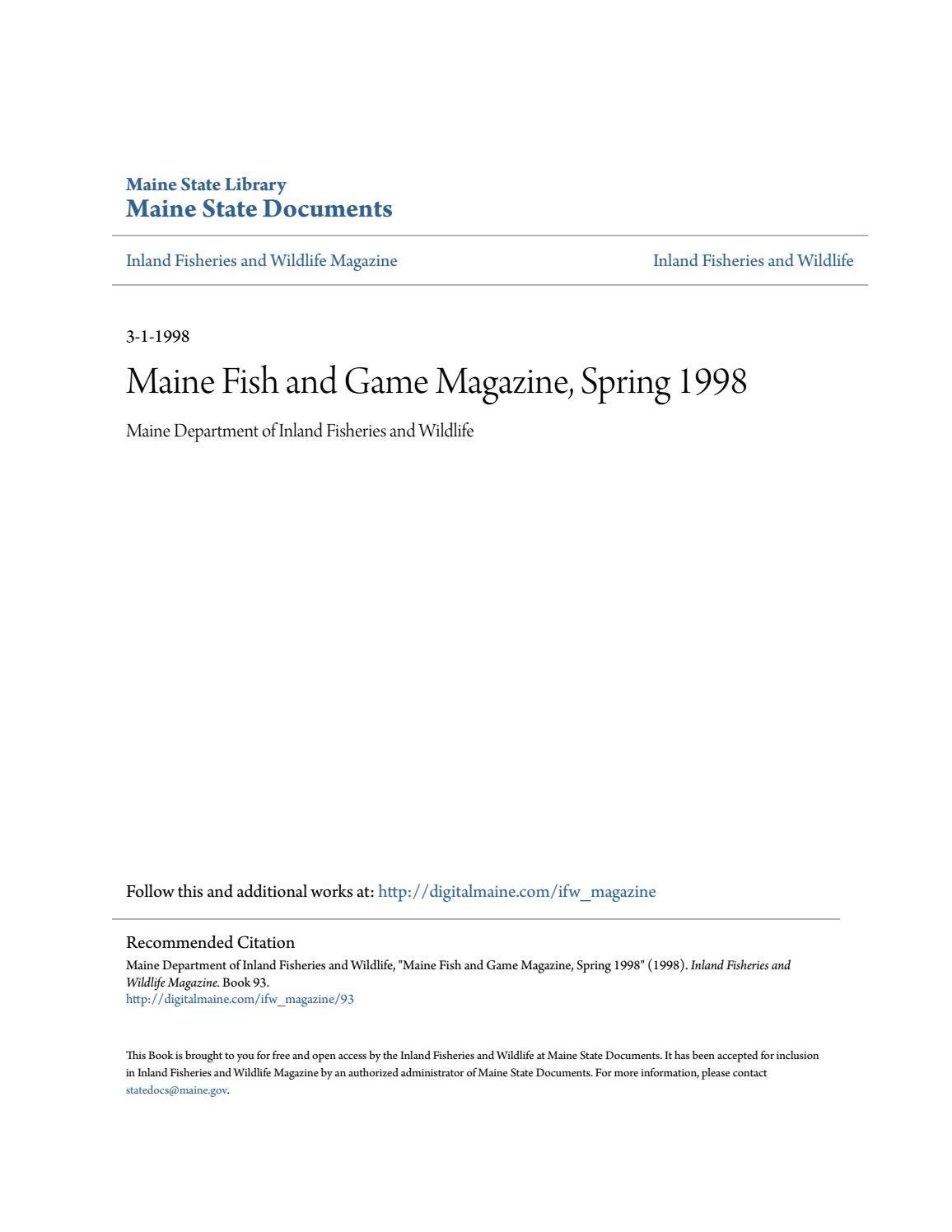 Maine fish and wildlife magazine spring 1998 by maine for Maine state fish
