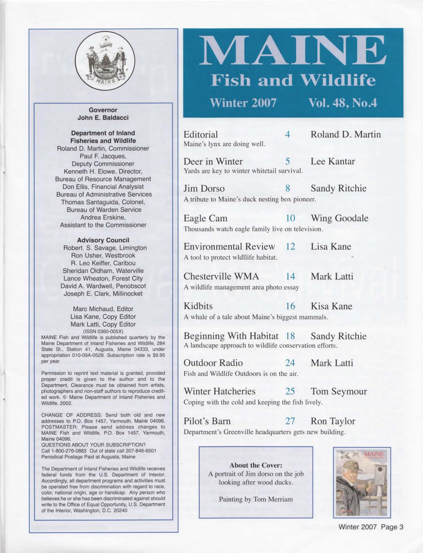 Maine fish and wildlife magazine winter 2007 by maine for Maine state fish