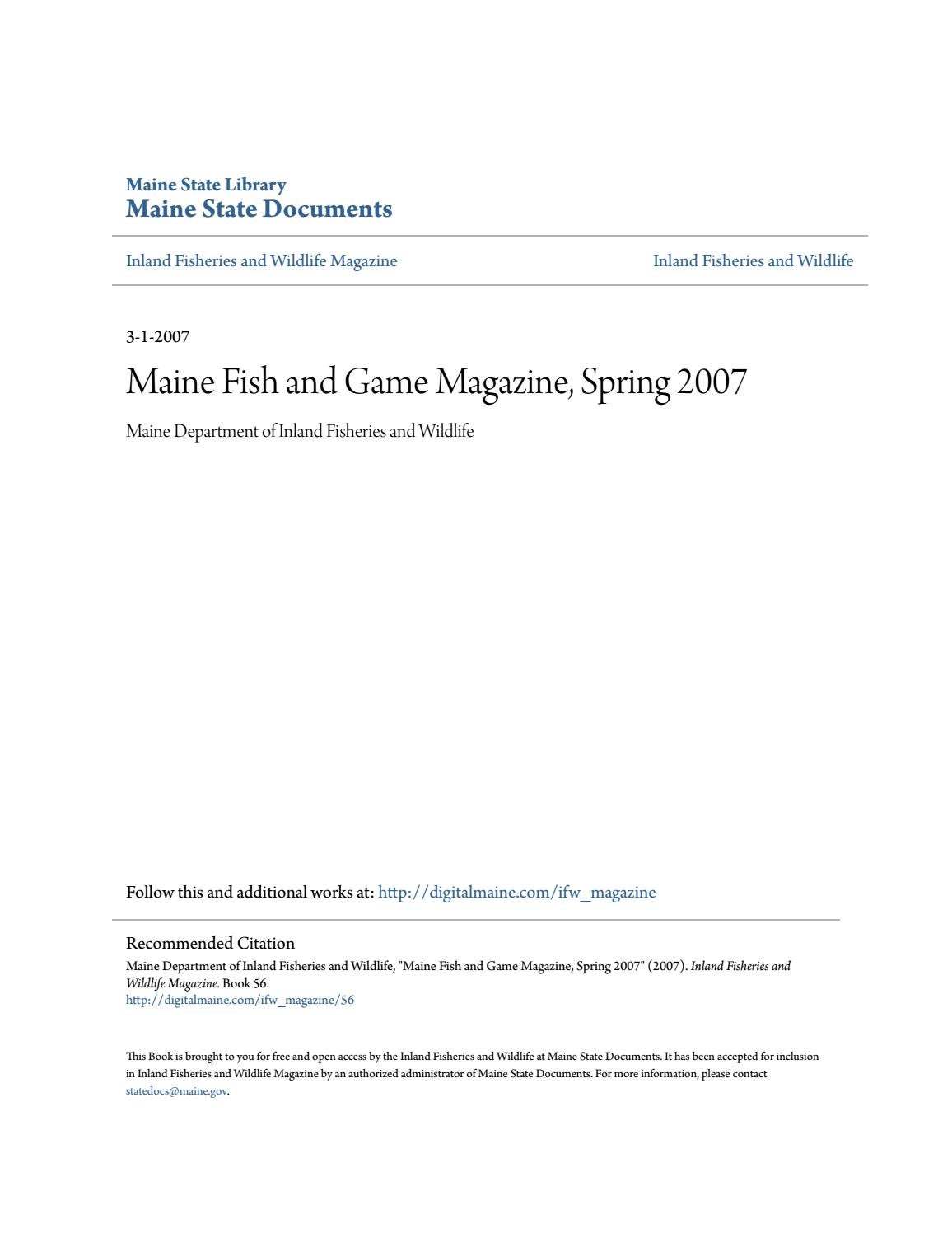 Workbooks tion worksheets printable : Maine Fish and Wildlife Magazine, Spring 2007 by Maine State ...