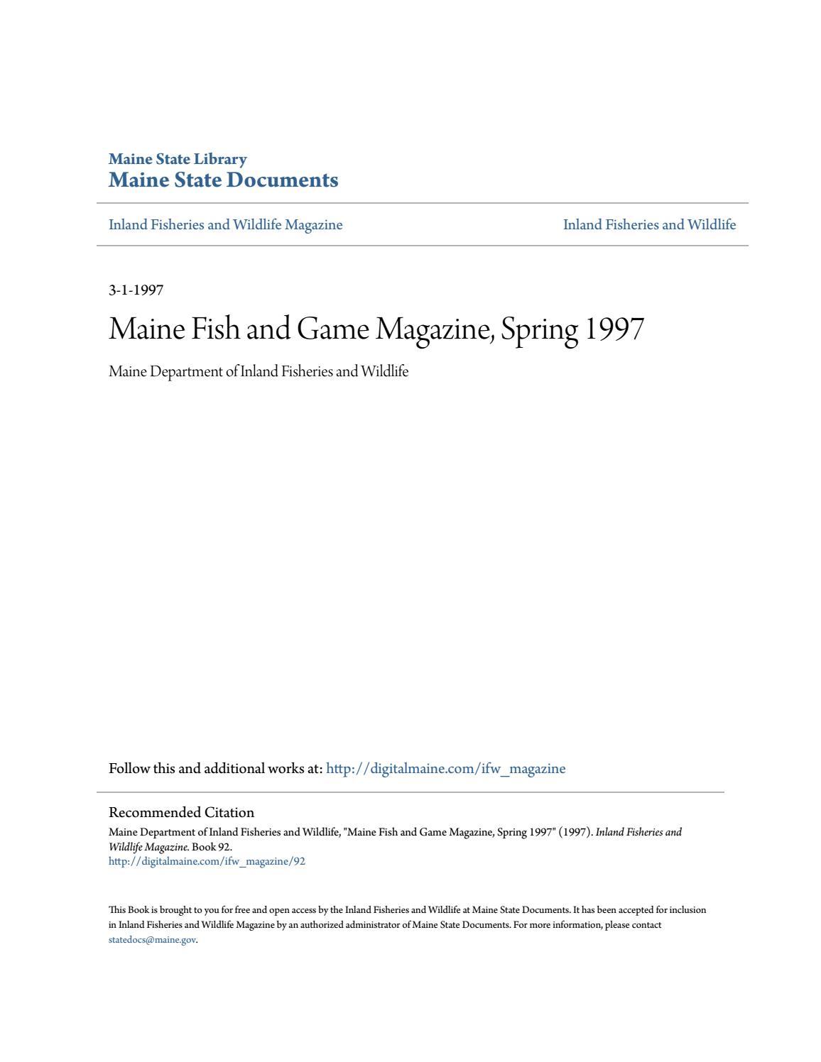 Maine Fish and Wildlife Magazine, Spring 1997 by Maine ...