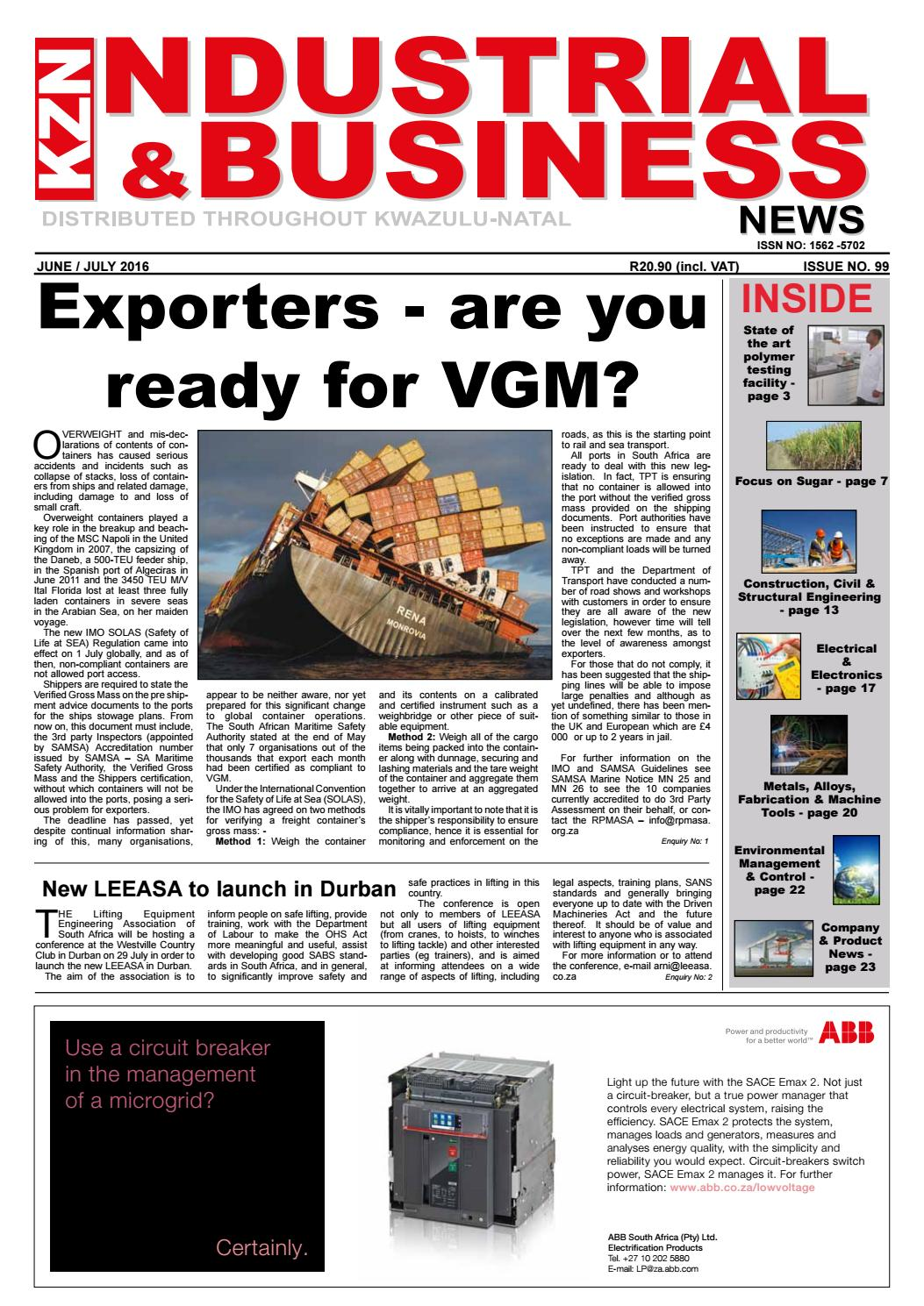 Kzn Industrial Business News Issue 99 Jj2016 By The Media Events Kinds Of Circuit Breakers For Protecting Illuminating Distributing Company Issuu