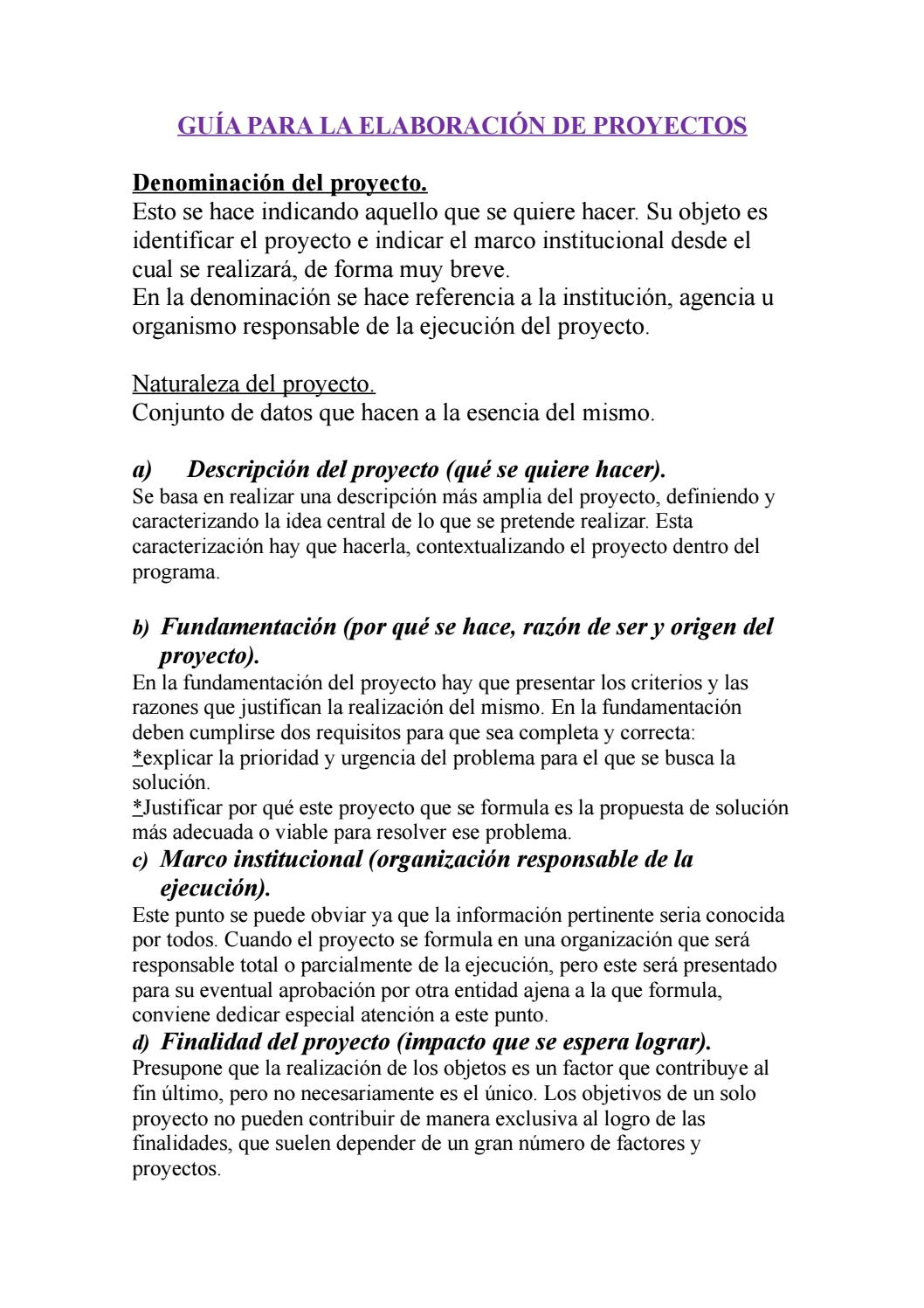 Guia Para La Elaboracion De Proyectos By Cami Fraga Issuu