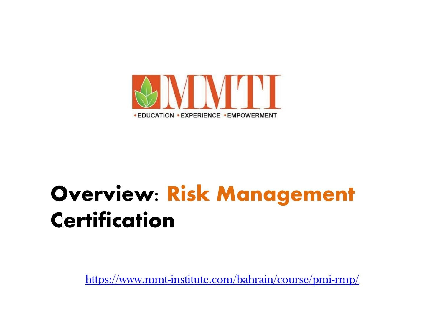 Overview Risk Management Certification In Qatar By Mmti Issuu