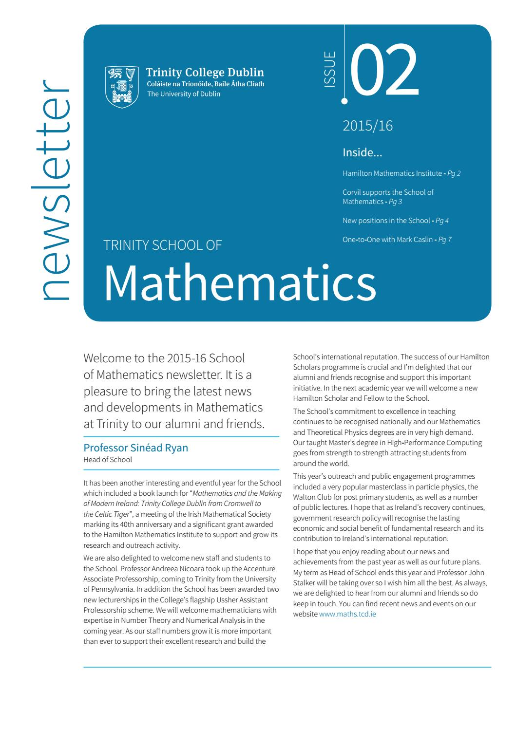 School of Mathematics Newsletter 2015-16 Trinity College Dublin by ...