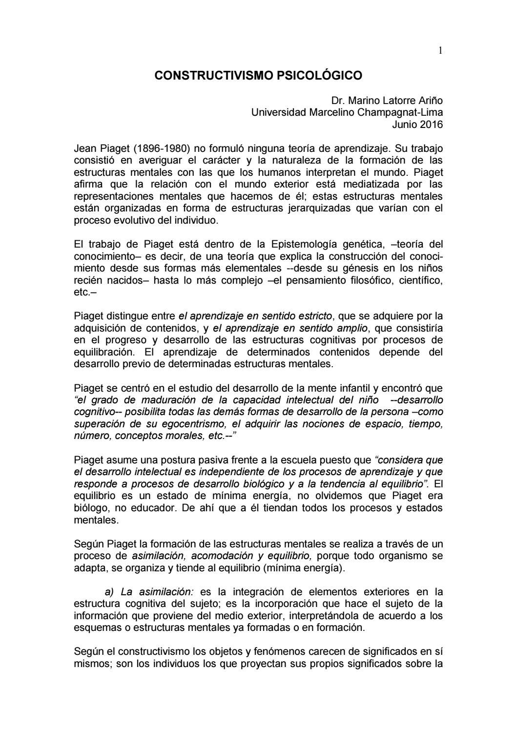 Constructivismo Psicológico By Universidad Marcelino