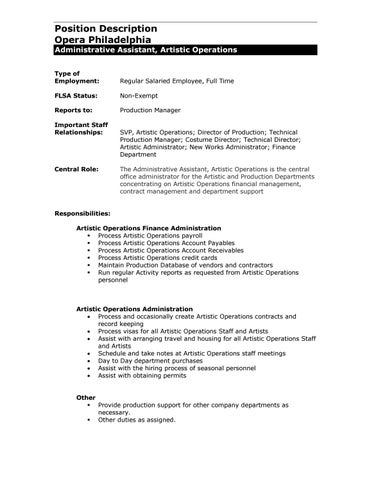 Administrative Assistant, Artistic Operations By Opera
