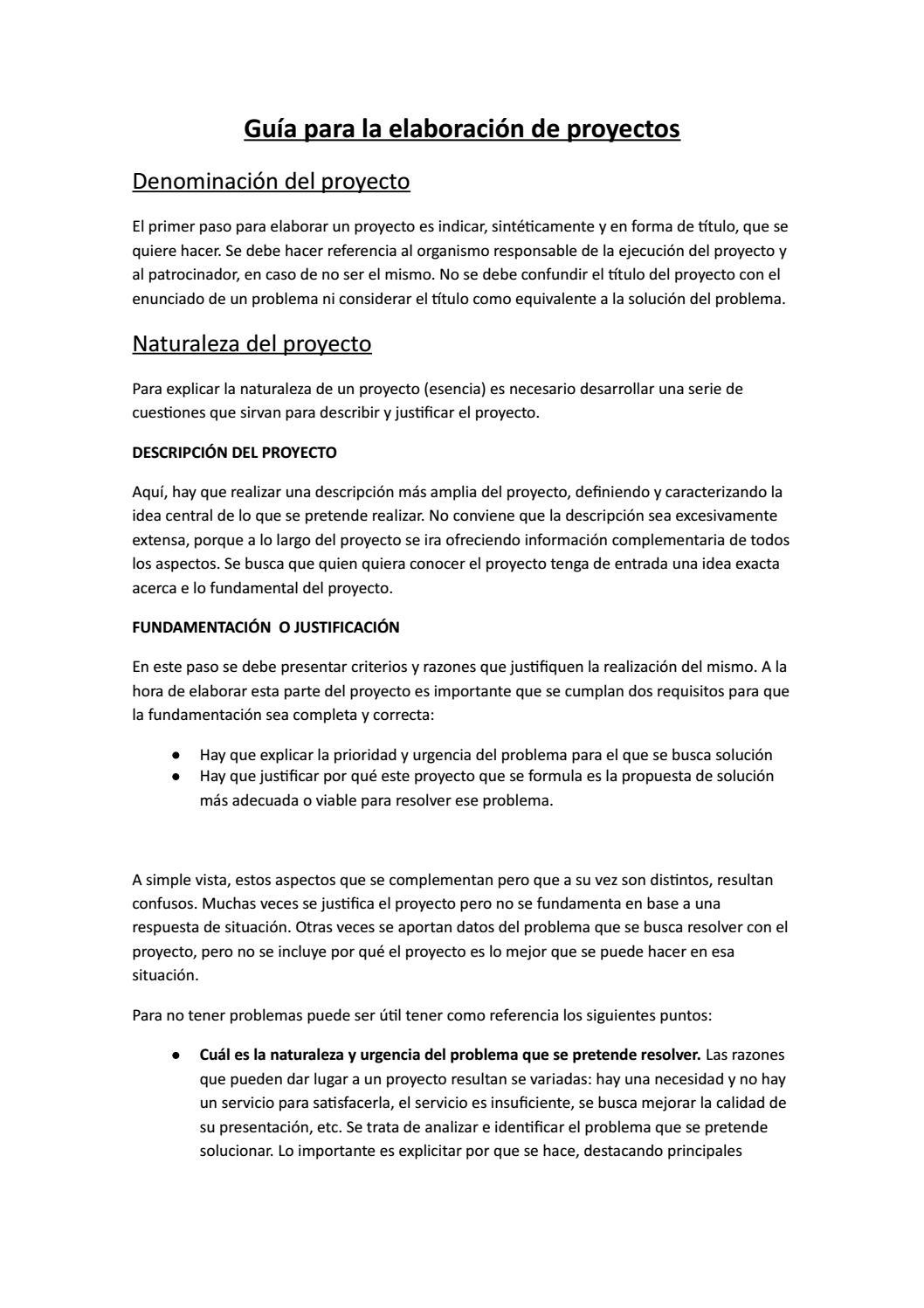 Guía Para La Elaboración De Proyectos By Gonzalotraynor Issuu