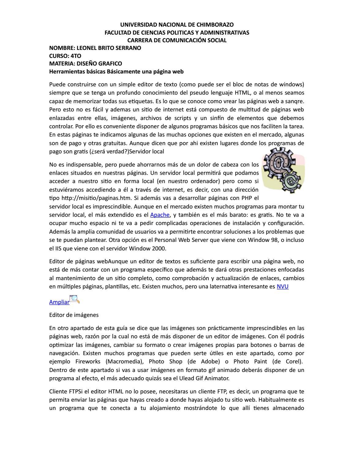 Herramientas para crear una pagina web by fabricio brito - issuu