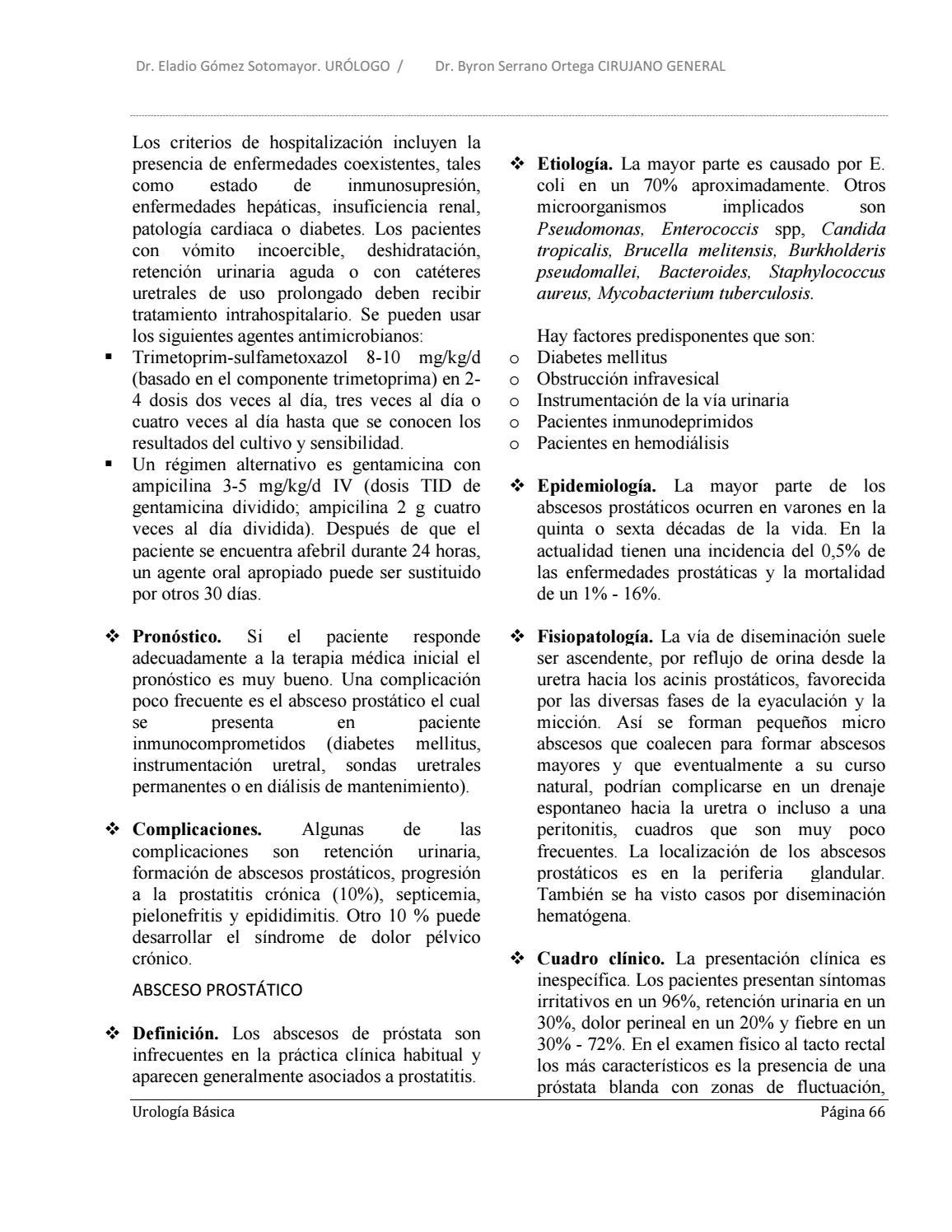 prostatitis crónica epididimitis